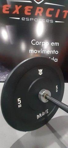 Kit Barra olímpica e anilhas olímpica 100 kg Crossfit Competição profissional  - Foto 6