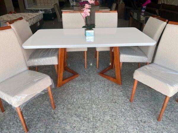 Mesa de Jantar Flávia 1,80cm 100% Madeira Vidro Canto Copo + 6 cadeiras Ciana ? Off White