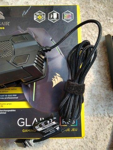 Mouse Gamer Glaive RGB Óptico 16.000 DPI Preto Corsair usado em perfeito estado - Foto 2