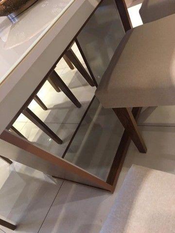 Mesa de Jantar Sofia c/ 6 cadeiras Grécia Veludo Creme Tampo Reto ? OffWhite - Foto 4