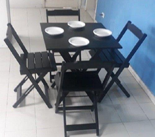 Conjuntos de mesa e 2 ou 4 cadeiras dobráveis com pintura ou sem pintura - Foto 4