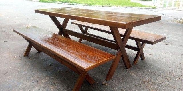 Mesa com 2 bancos pe x - Foto 3