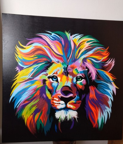 Quadro Leão a óleo  - Foto 3