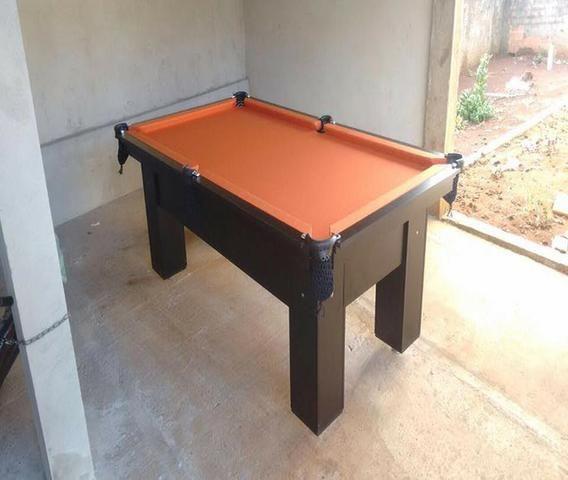 Mesa com 4 Pés Cor Preta Tecido Laranja Mod. EYGD4252 - Foto 3
