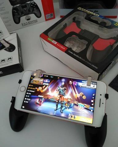 Joystick Gatilho L1 X R1 Metal E Suporte Celular Gamepad-(Loja na Cohab)