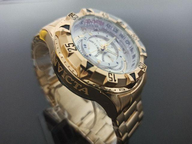 Relógio de pulso masculino invicta excursion dourado - Foto 3