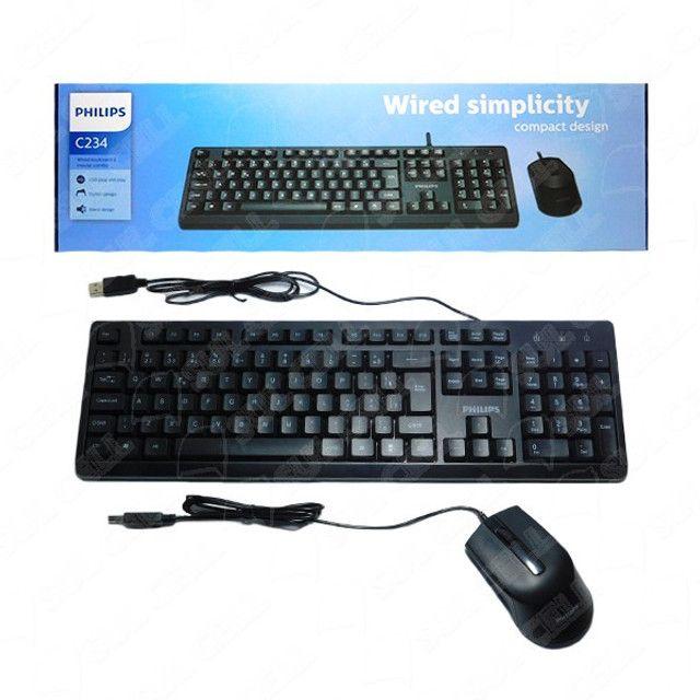Teclado e Mouse com Fio C234 Preto - Philips - Foto 3