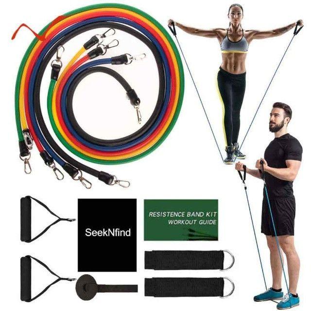 Kit Elásticos Para Exercícios De Resistência 11 Peças CrossFit - Foto 2