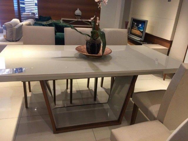 Mesa de Jantar Sofia c/ 6 cadeiras Grécia Veludo Creme Tampo Reto ? OffWhite - Foto 3