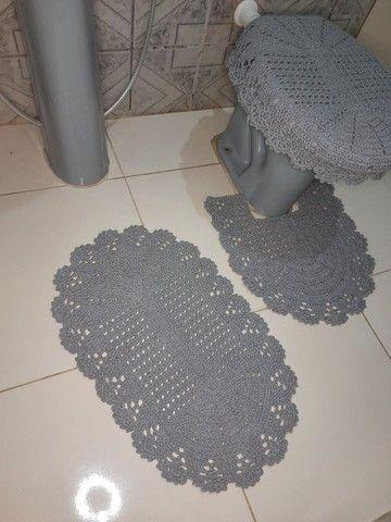 Jogo de banheiro em crochê simples - Foto 6