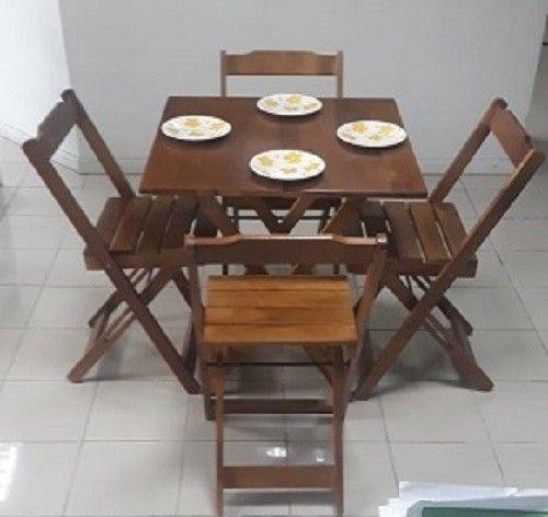 Conjuntos de mesa e 2 ou 4 cadeiras dobráveis com pintura ou sem pintura - Foto 3