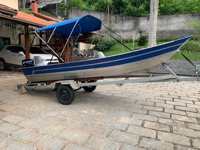Barco alumínio de bico borda alta 5m semi novo - Foto 9