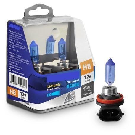 Par Lampada Super Branca H8 8500K 12V 35W