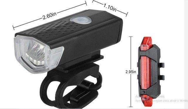 Farol, Lanterna para bicicleta Usb recarregável luz, Bike Dianteira e traseira ? R$ 55,00