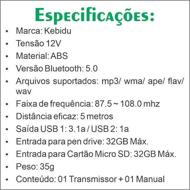 Transmissor Veicular Bluetooth FM - Foto 5
