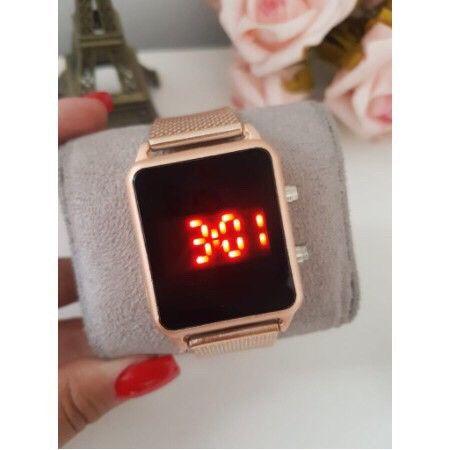 Relógio LED Digital data hora Rose Dourado Entregamos com taxinha de entrega   - Foto 2