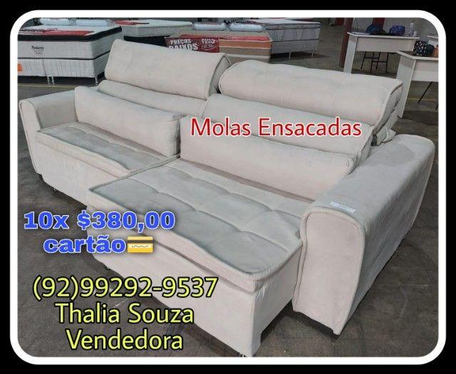 Sofá Retrátil Madero 2,50cm largura,Molas Ensacadas, Espuma D28 Frete Grátis Manaus //**-+