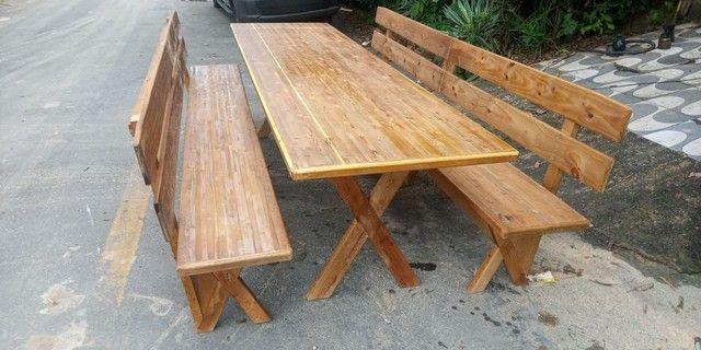 Mesa x de madeira com 2 banco - Foto 2