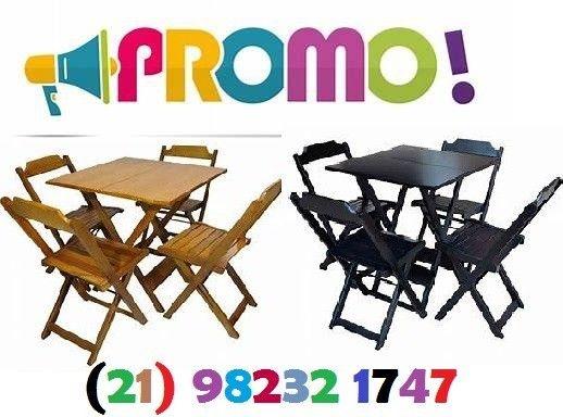 Conjuntos de mesa e 2 ou 4 cadeiras dobráveis com pintura ou sem pintura
