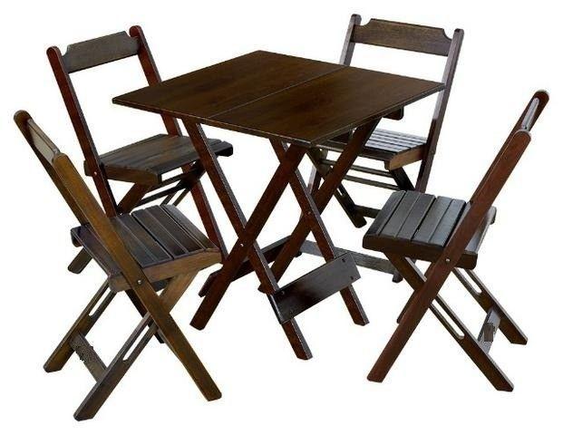 Jogo de mesa com cadeiras dobrável em madeira - Foto 2