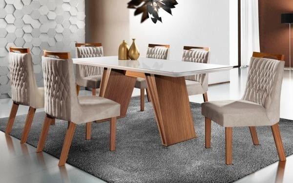 Mesa de Jantar Atena 100% MDF Vidro OffWhite com 6 Cadeiras - Entrega Rápida