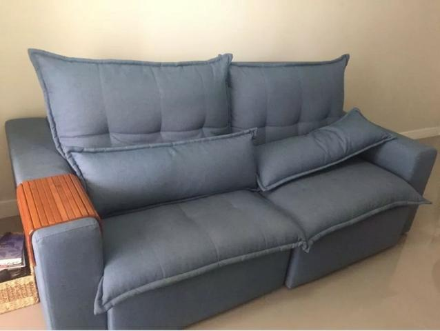 Sofa Zeus 3 Lugares Reclinavel E Retratil Azul Moveis Parque