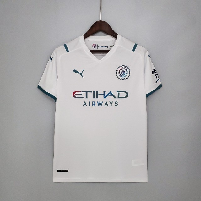 Camisa Manchester City 21/22  Torcedor Puma Masculina - Branco+Azul