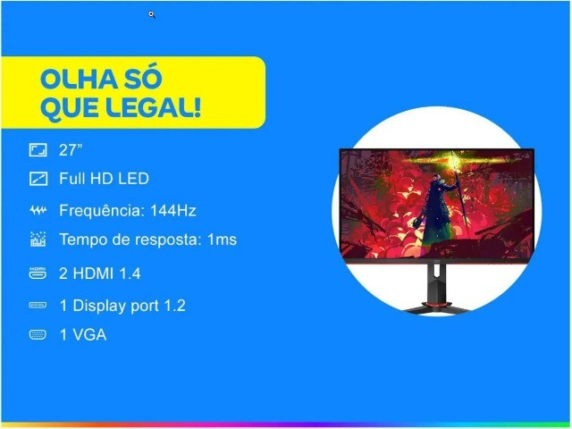 Monitor 27 Aoc Hero G2 144hz 1ms Ips Hdmi Displayport Novo Lacrado garantia - Foto 3