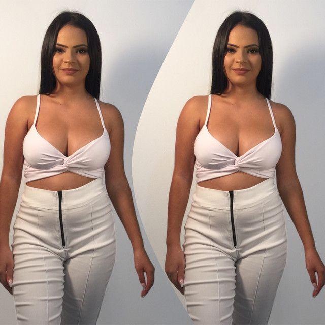 Conjunto branco croped + calça  - Foto 2