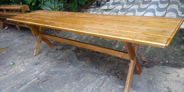 Mesa x de madeira com 2 banco - Foto 4