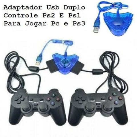 Adaptador Usb Duplo Controle Ps2 E Ps1 Para Jogar Pc e Ps3