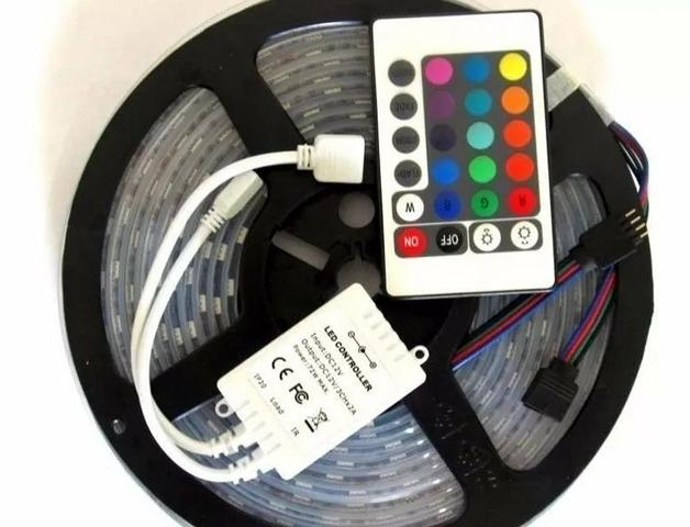 Kit fita de led rgb 5050 fica ate 16 cores varios efeitos rolo 5 metros