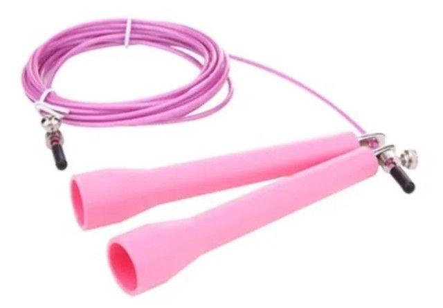 Corda crossfit 3 metros regulável cabo de aço revestido. - Foto 3