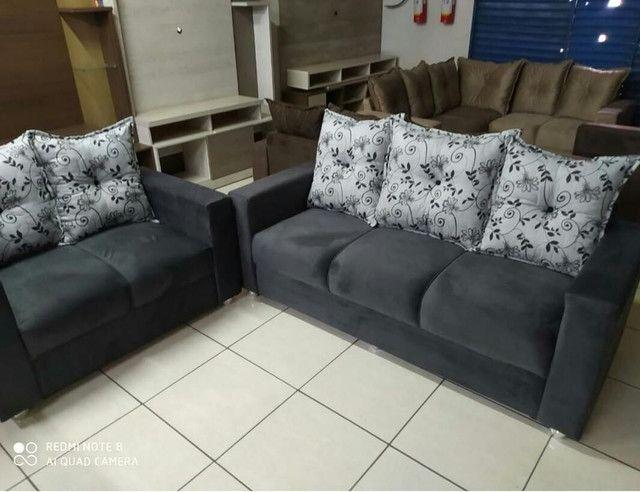 Sofá de 2 e 3 lugares no suede - Novo - Foto 2