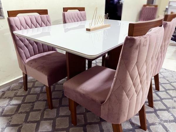 Mesa de Jantar Firenze c/ Tampo de Vidro OffWhite + 4 Cadeiras - Entrega Rápida - Foto 2