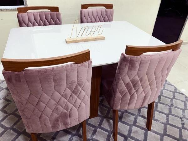 Mesa de Jantar Firenze c/ Tampo de Vidro OffWhite + 4 Cadeiras - Entrega Rápida - Foto 3