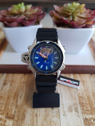 Relógio Sanda 3008 analógico e digital à prova d'água com pulseira e caixa reforçada - Foto 6