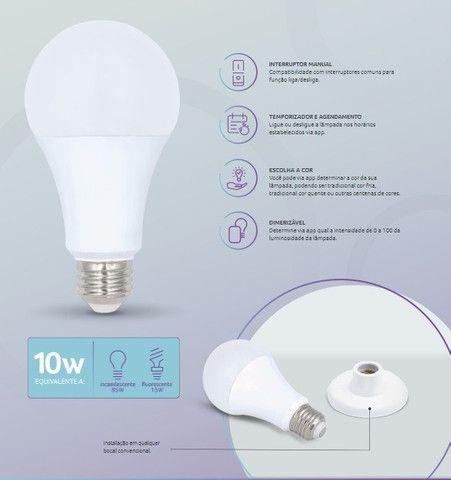 Lâmpada LED Inteligente Bulbo Multilaser Colorida Dimerizável Wi-Fi SE224 - Foto 5