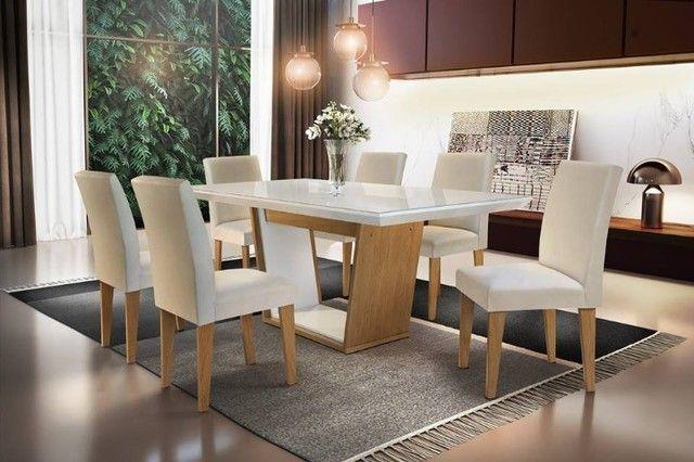 Mesa de Jantar Sofia c/ 6 cadeiras Grécia Veludo Creme Tampo Reto ? OffWhite - Foto 6