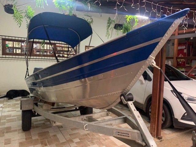 Barco alumínio de bico borda alta 5m semi novo - Foto 6