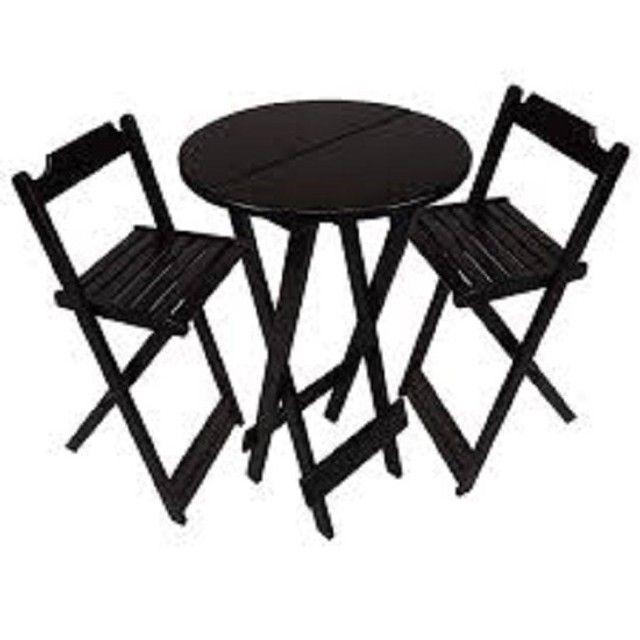 Conjuntos de mesa e 2 ou 4 cadeiras dobráveis com pintura ou sem pintura - Foto 6