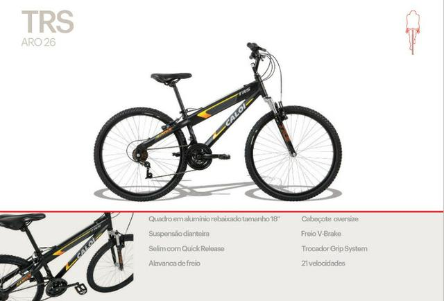 def4314bd Bicicleta Caloi Trs Aro 26 Mountain Bike - 21 Velocidades - Preto Fosco