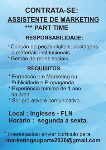 Assistente de marketing com experiência , part time