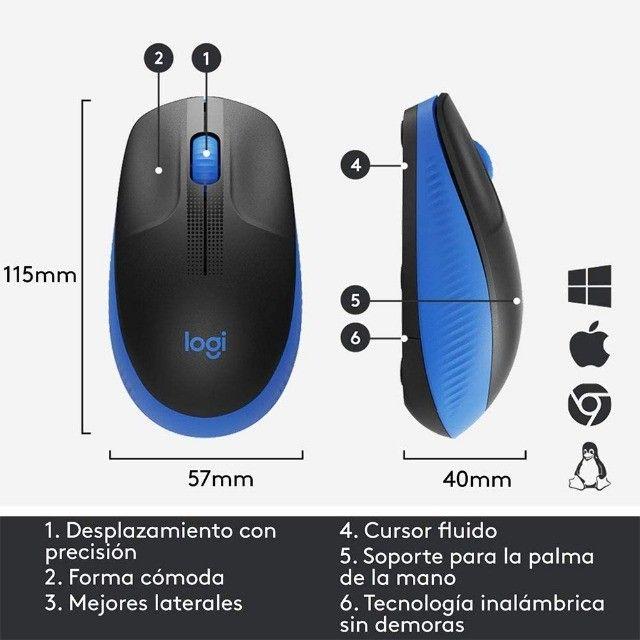 Mouse Óptico Sem Fio 2.4 Ghz 1.000 DPI Preto Logitech M190 Novo original - Foto 5