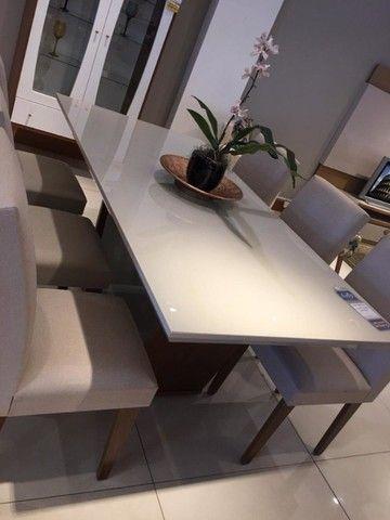 Mesa de Jantar Sofia c/ 6 cadeiras Grécia Veludo Creme Tampo Reto ? OffWhite - Foto 5
