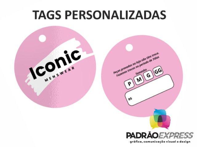 Tags personalizadas retangular, olval ou redondas com 5x5 centímetros. - Foto 2
