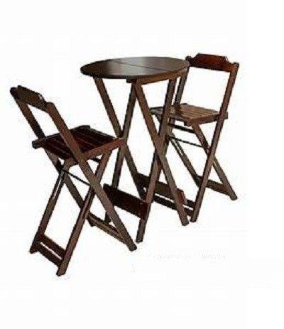 Jogo de mesa com cadeiras dobrável em madeira - Foto 5