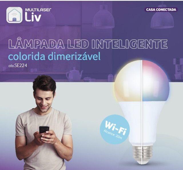 Lâmpada LED Inteligente Bulbo Multilaser Colorida Dimerizável Wi-Fi SE224 - Foto 6