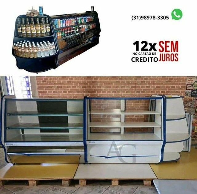 Kit Balcão Refrigerado, balcão Seco + Gôndolas de Parede + Mesa e cadeiras - Foto 6