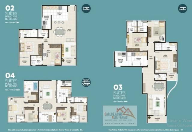 Excelentes apartamentos de duas a quatro suítes, Bairro Recreio em Vitória da Conquista BA - Foto 2